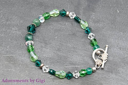 Handmade Swarovski Crystal Beaded Bracelet (Pretty Light and Dark Green Swarovski Crystal Beaded Bracelet)