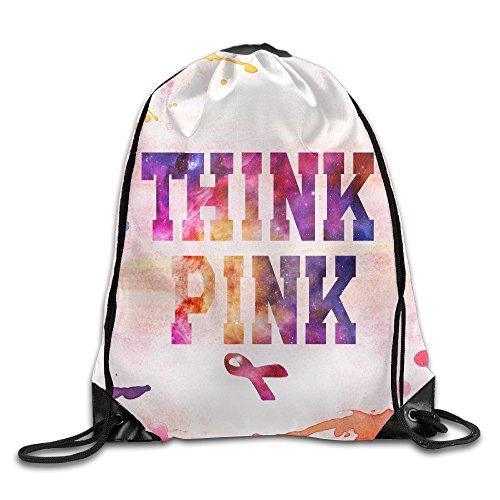 Think Pink Breast Cancer Awareness With Ribbon Unisex Drawstring Backpack Travel Sports Bag Drawstring Beam Port ()