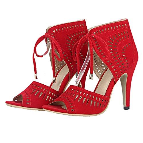 008092d3ff48 ... YE Damen Peep Toe Stiletto High Heel Cut Out Sandalen Party Schuhe mit  Absatz zum Schnüren