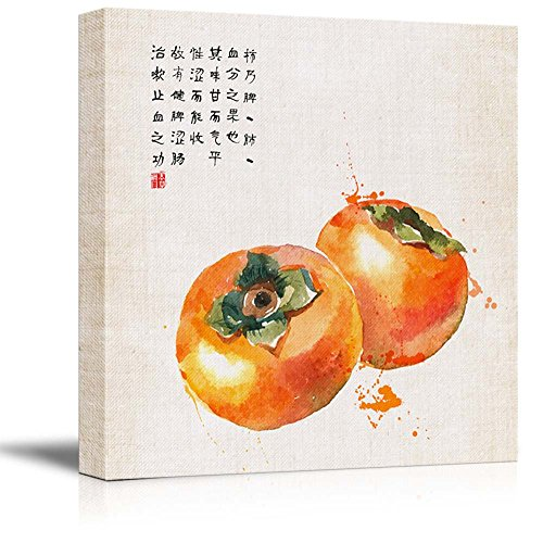 Square Watercolor Style Chinese Painting of Ripe Persimmons Gallery