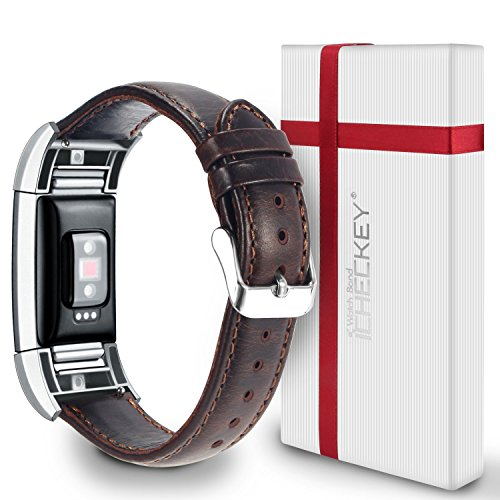 【VALENTINE'S DAY GIFTS】Fitbit Charge 2 Bands - ICHECKEY Genuine Leather Replacement Wristband Bracelet, Large Small Charge 2 Fitness Strap with Metal Connector