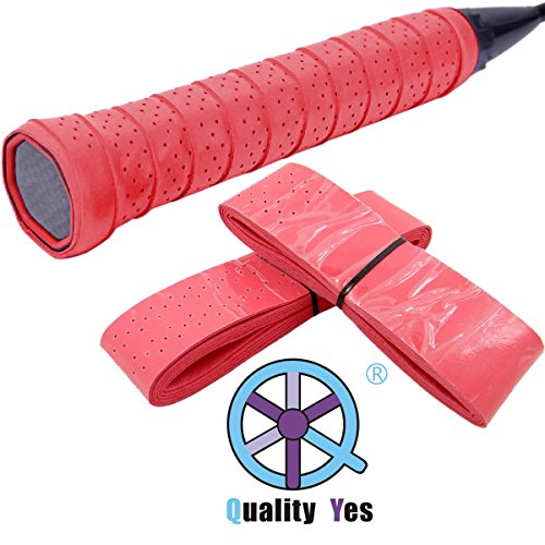 Stage Perforated Leather - Quality Yes QY 2PCS Widened Perforated Super Absorbent Tennis Racket Overgrip Anti Slip Badminton Racket Tape Wrap Table Tennis Racket Tape, Red Color