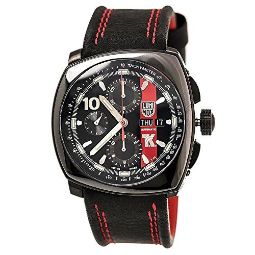 Luminox 1181 Men's Tony Kanaan Valjoux Automatic Black Dial Black Leather Strap Chronograph Watch