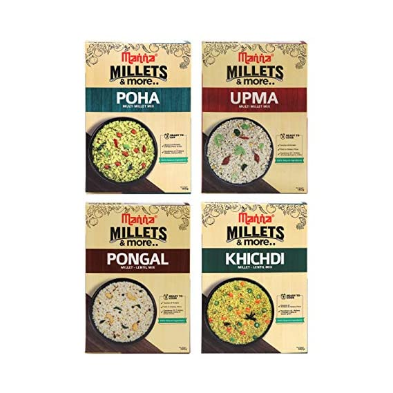 Manna Instant Millet breakfast - Combo Pack of 4 (12 Servings) - Millet Upma (180g) , Millet Poha (180g), Millet Khichdi