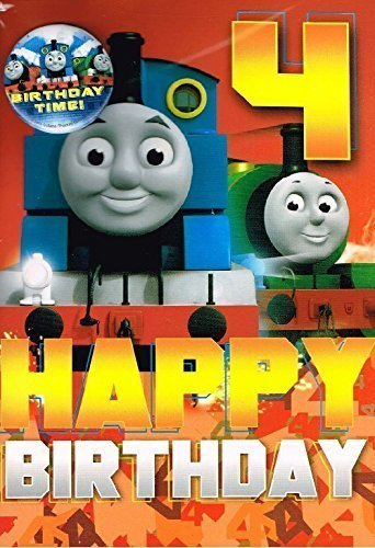 Thomas & Friends Thomas The Tank Engine Age 4 Birthday Card And Badge (Badge Thomas Tank)