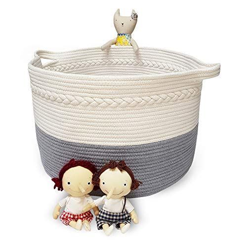 Doriar XXXL Braided Woven Cotton Rope Basket - 21.7 x 13.8  Large Round Cotton Baskets with Handles for Kids Toys Storage/Laundry/Clothes/Blanket/Pillow/Towel/Diaper/Home Decor - White+Gray