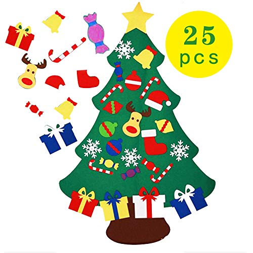 Houkig mooly DIY Felt Christmas Tree Set - Xmas Decorations Wall Hanging Ornaments Kids Gifts Party Supplies (Easy Xmas Craft)