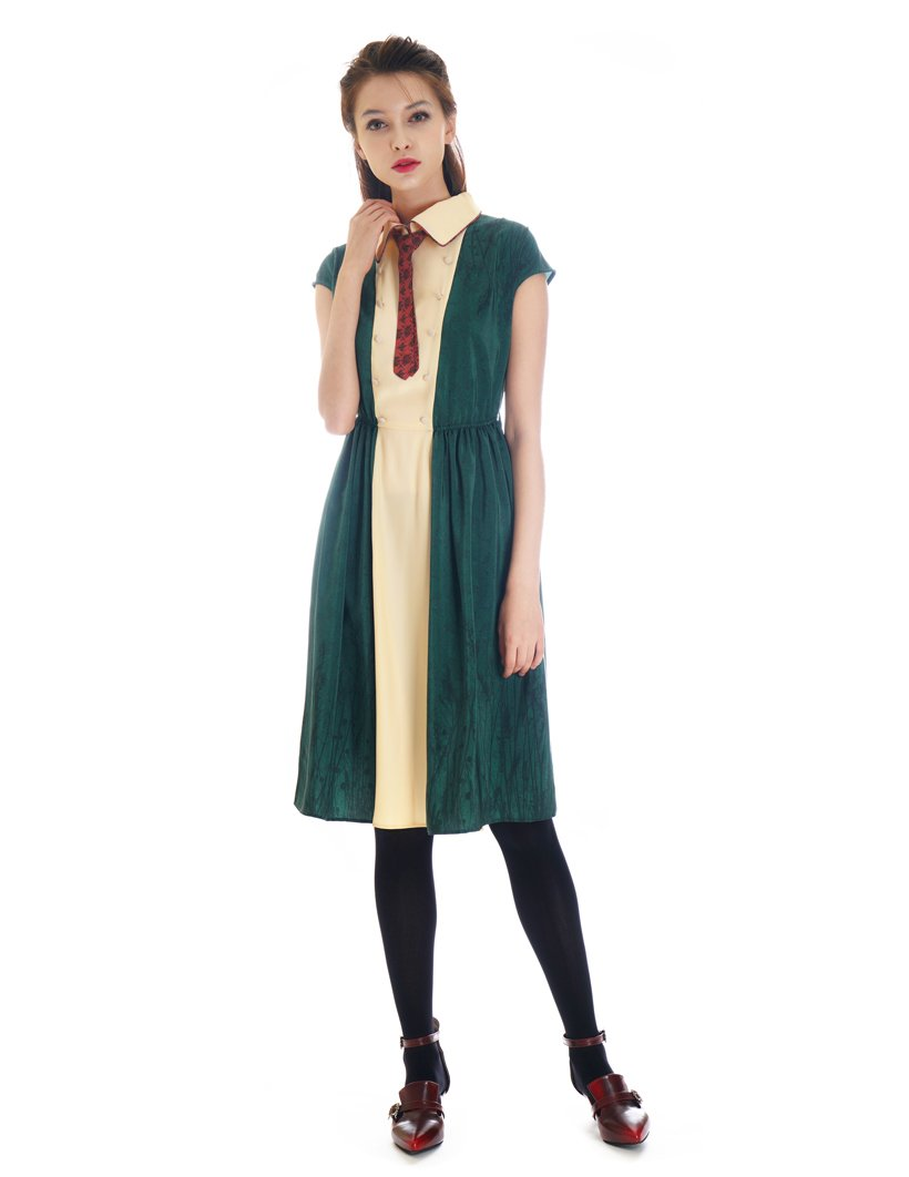 Vintage Preppy Style 100% Mulberry Silk Charmeuse Dress OP (Small, Ivory+ Dark Green)