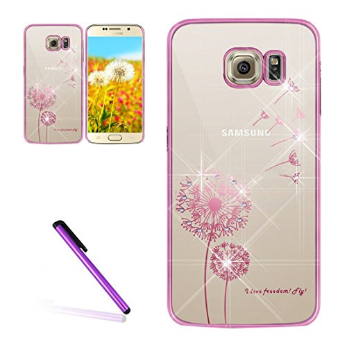 Galaxy S6 Case Samsung Galaxy S6 Case for Girls EMAXELER Stylish Bling Diamond Slim Case Plating Process Hard PC Back Cover Protective Case for Samsung Galaxy S6 Dandelion Pink