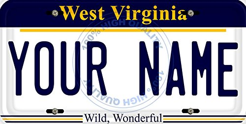 BleuReign(TM) Personalized Custom Name West Virginia State Car Vehicle License Plate Auto Tag (ALL STATES AVAILABLE) -