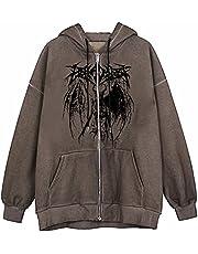 Y2k huvtröja med dragkedja estetisk långärmad överdimensionerad jacka dragsko med huva topp sweatshirt kappa 90-tal E-Girl streetwear, Brunt-2, 3XL