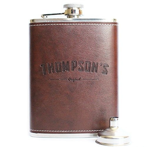 Thompson's Leather Flask With Funnel 8oz - Brown Leather Hip Flask, Stainless...