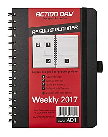 Action Day 2017 - World´s Best Action Planner - Designed to Get Things Done - Weekly Daily Monthly Yearly Agenda, Calender, Appointment, Organizer & Goal Journal (6x8 / Wire-Bound / Black)