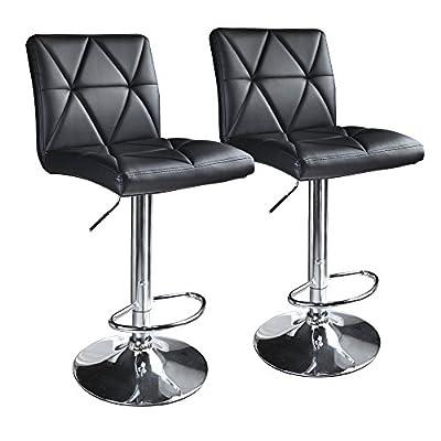 Leader Accessories Bar stool,Hydraulic Square Back Diagonal Line Adjustable Bar Stools,Set of 2