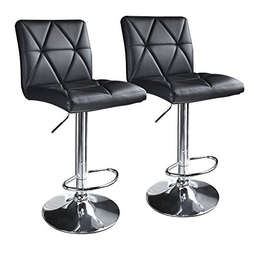 Leader Accessories Bar stool,Hydraulic Square Back Diagonal Line Adjustable Bar Stools,Set of 2