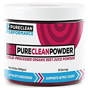 PureClean Powder - 100% USA Grown Organic Beet Juice Powder (Jar 300G) -No Fillers, Sweeteners, or Additives. Super Beets Clean Energy Powder Blood Pressure Support Supplement Beet Powder