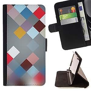 For Sony Xperia Z2 D6502 Case , Modelo abstracto en colores pastel Colores- la tarjeta de Crédito Slots PU Funda de cuero Monedero caso cubierta de piel