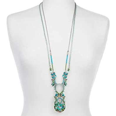 58b4b0e43 Ayala Bar long double stranded necklace with flamingo design  (radiance/blue/green mix): Ayala Bar: Amazon.co.uk: Jewellery