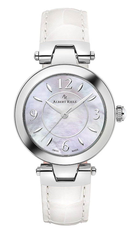 Albert Riele Damen Armbanduhr GALA Analog Quarz Lederarmband weiß 125LQ16-SS33M-LW
