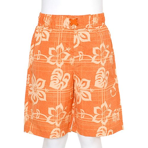 - iXtreme Boys Orange Swimsuit Size 12M Summer Hibiscus Print Trunks Drawstring