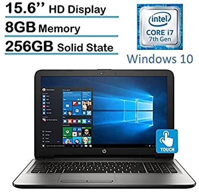 "2017 HP 15.6"" HD 1366x768 Touchscreen Flagship Laptop, Intel Core i7-7500U 2.7GHz, 8GB DDR4 RAM, 256GB SSD, DVDRW, Intel HD Graphics 620, WiFi, HDMI, Windows 10"
