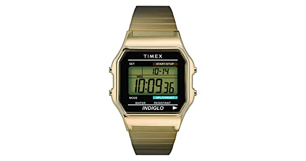 0bb7bfdfe Timex Men's T78677 Classic Digital Gold-Tone Stainless Steel Expansion Band  Watch