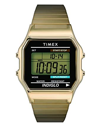 93f44e2bda9f Timex Men s T78677 Classic Digital Gold-Tone Stainless Steel Expansion Band  Watch