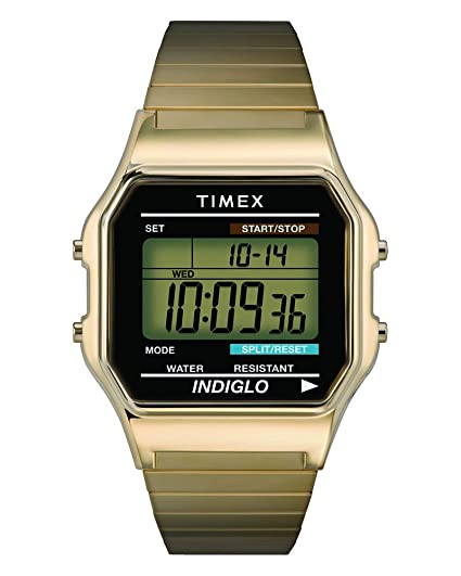4a2ae8a9a Amazon.com: Timex Men's T78677 Classic Digital Gold-Tone Stainless Steel  Expansion Band Watch: Timex: Watches