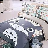 Casofu® Gray Totoro Bedsheet Style Bedding Set, Cartoon Bedding Sets for Kids, Twin/Full/Queen