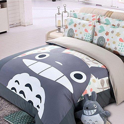 Casofu 174 Gray Totoro Bedsheet Style Bedding Set Cartoon