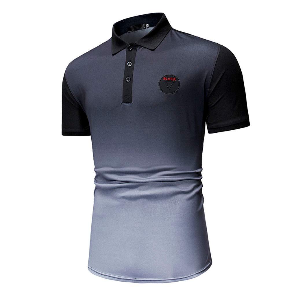Giulogre Fashion Mens Short Sleeve Gradient Ramp Shirts Casual Formal Slim Fit Shirt Top