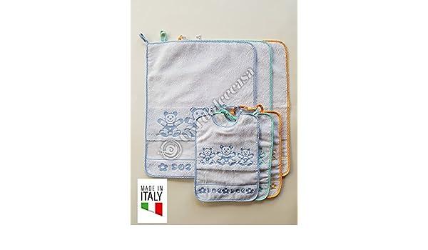 Juego 3 bavaglie + 3 Toallitas Bebé 100% algodón para guardería y escuela materna producto italiano: Amazon.es: Bebé