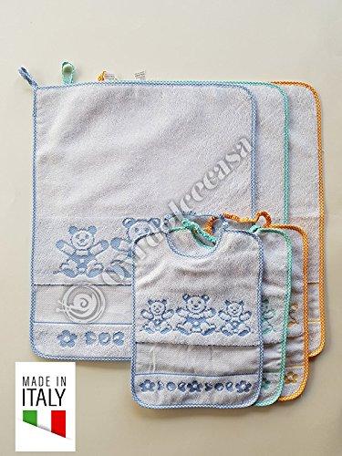 Juego 3 bavaglie + 3 Toallitas Bebé 100% algodón para guardería y escuela materna producto