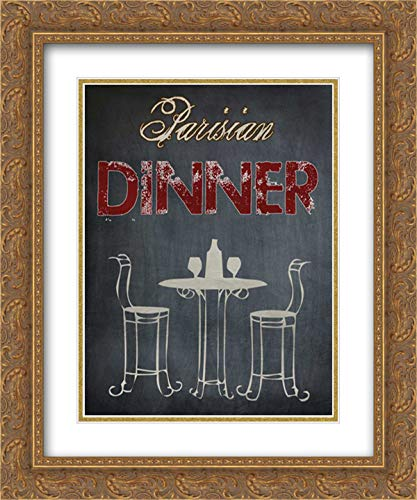 (Parisian Dinner Cream 15x18 Gold Ornate Frame and Double Matted Art Print by Lewis, Sheldon )
