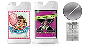 Advanced Nutrients Bud Candy and Bud Factor X with Twin Canaries Conversion Chart and 3ml Pipette-4 Liter
