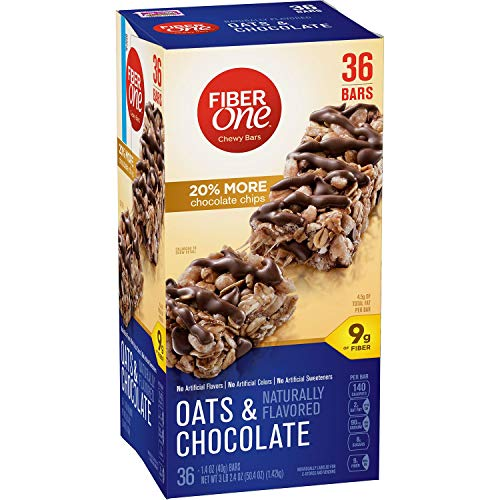 Fiber One Oats and Chocolate Chewy Bars - 20% More Chocolate Chips - 36 Bars (One Oats Fiber)