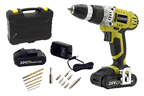 CACOOP CCD20001LB2 20V 1.5AH LIthium Ion Cordless 2-Speed Drill/Driver Set With Two Battery Packs