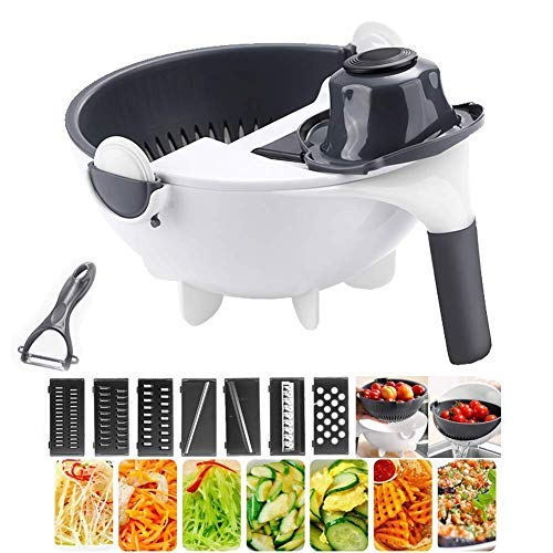 9 in 1 Multifunction Vegetable Cutter Drainage Basket with Magic Rotating Vegetable Cutter Portable Slicer Chopper Grater Kitchen Tool by Ktzhk