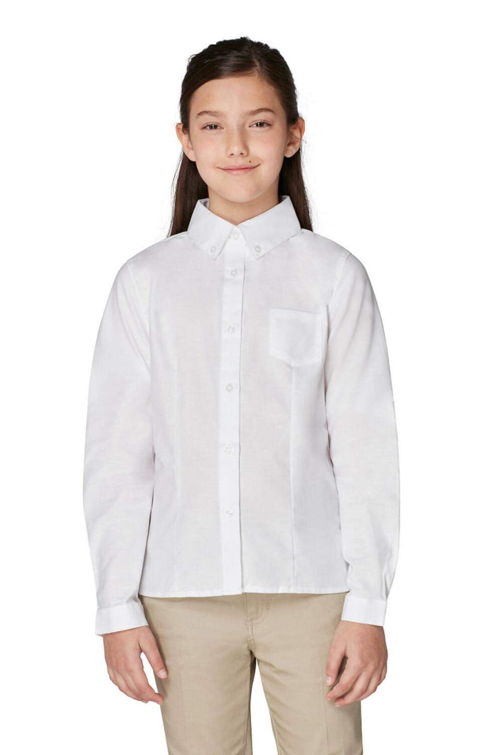 French Toast Big Girls' Long Sleeve Button Down Oxford, White, 8