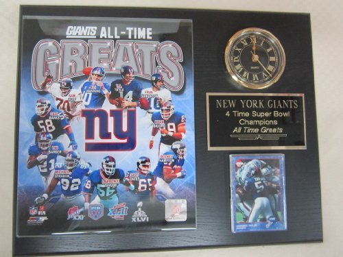 New York Giants All Time Greats Collectors Clock Plaque w/8x10 Photo and Card
