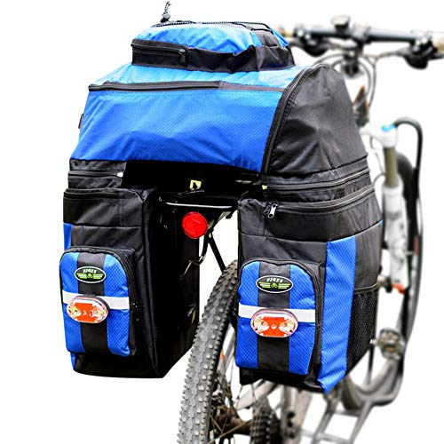 Liinmall Outdoor FJQXZ 70 L Bike Panniers Bag 3 in 1 Adjustable Large Capacity Bike Saddle Bag 1680D Polyester Bicycle Bag Cycle Bag Cycling/Bike/Waterproof/Removable (Blue)