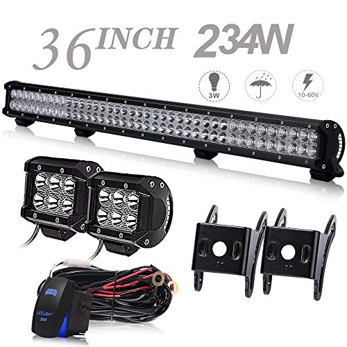 ved 36Inch 234W LED Light Bar Offroad + 2PCS 4In 18W Cube Pods Driving Lights W/Rocker Switch Wiring Harness For Tractor Truck Jeep ATV GMC Chevy Silverado 4 wheeler Ram 1500 Honda ()