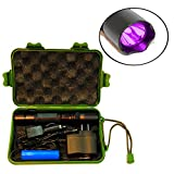 HQRP Complete KIT: Professional 3 Watt 1 LED 365nm UV Ultraviolet Inspection/Detection / Identification Flashlight/Blacklight with Battery/Car Charger and AC Adapter/Compass UV Meter