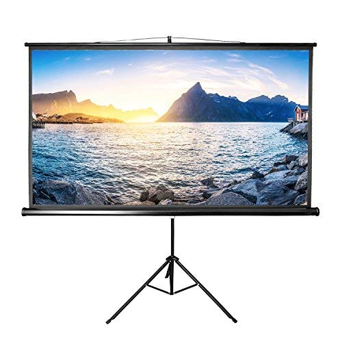 Projector Screen with Stand 84 inch Indoor and Outdoor Projection Screen for Movie or Office Presentation 16:9 HD Premium Wrinkle-Free Portable Tripod Screen (Ease of Use, 160° Viewing Angle) ()