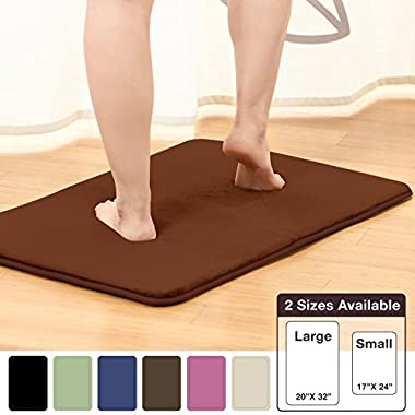 "Memory Foam Bathrug – Chocolate (Brown) Bath Mat and Shower Rug Large 20"" x 32"" Inches, Non Slip Latex Free Plush Microfiber. Comfortable, Beautiful and Maximum Absorbency."