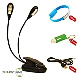 LED Book Light By Powervibe, Portable and Flexible Clip On Desk Reading Lamp, FREE Micro USB Bracelet, FREE Keyring Light, FREE USB Cord Included
