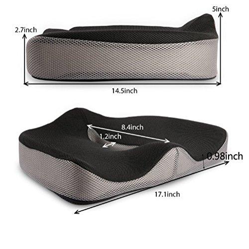 LINGJUN Gel Memory Seat Cushion Anti-Slip Bottom Sitting Pillow for Office Chair Car Seat Cushion by LINGJUN (Image #1)