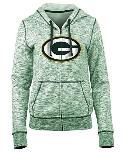 (New Era Green Bay Packers Ladies French Terry Space Dye Full Zip Hoodie X-Large)