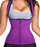 Seamless waist cincher with zipper steel boned underbust lingerie corset body shapers shapewear for women for men weight loss stomach abdomen beer belly binder (3XL, Purple)
