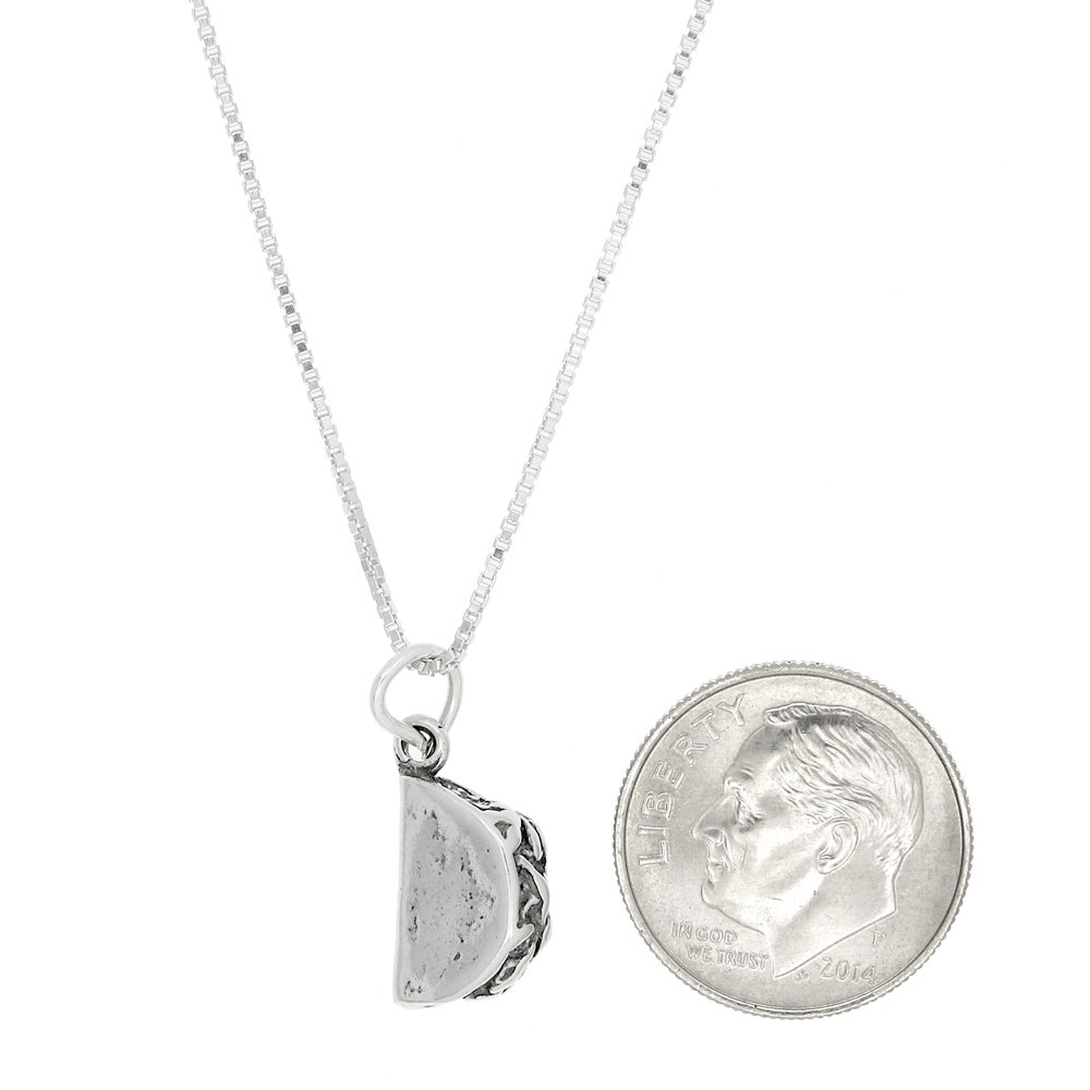 Sterling Silver Three Dimensional Hard Shell Style Taco Necklace